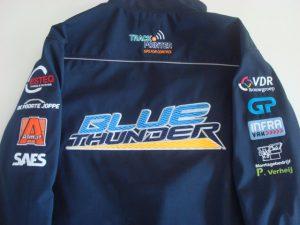 Blauw geel ruglogo van Bleu Thunder