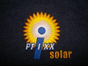 Pfixx solar logo met meerdere tinten geel/oranje