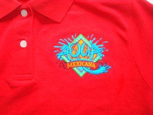 Rode polo met logo Aqua Mexicana